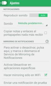 Menú de opciones en Android