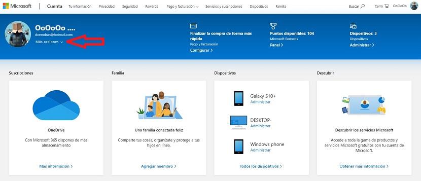 Más acciones cuenta Microsoft